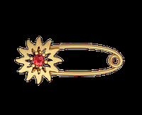 Золотая булавка Цветок красный