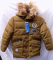 Куртка детская зима на флисе мальчик 6-10 лет хаки