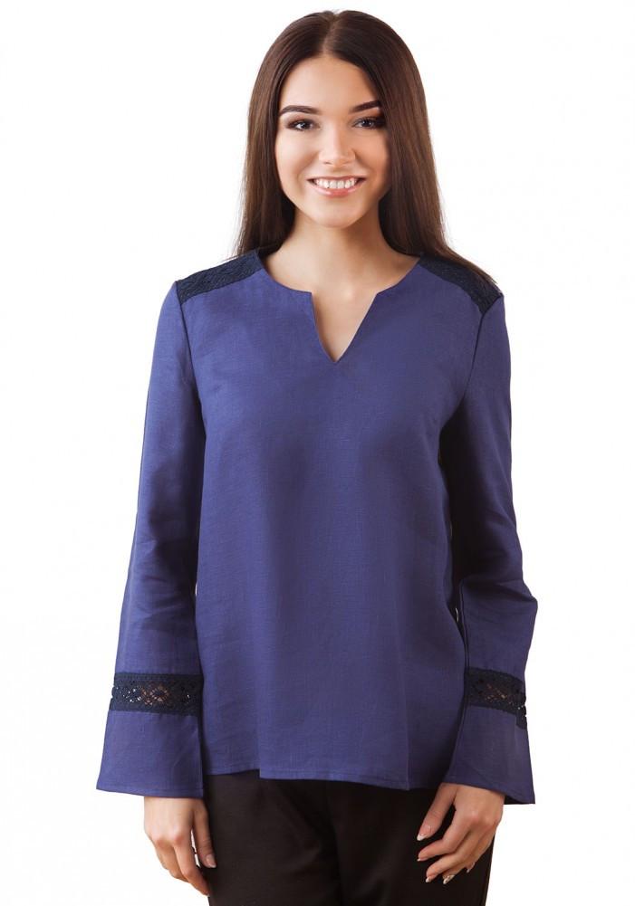 Льняная синяя блуза