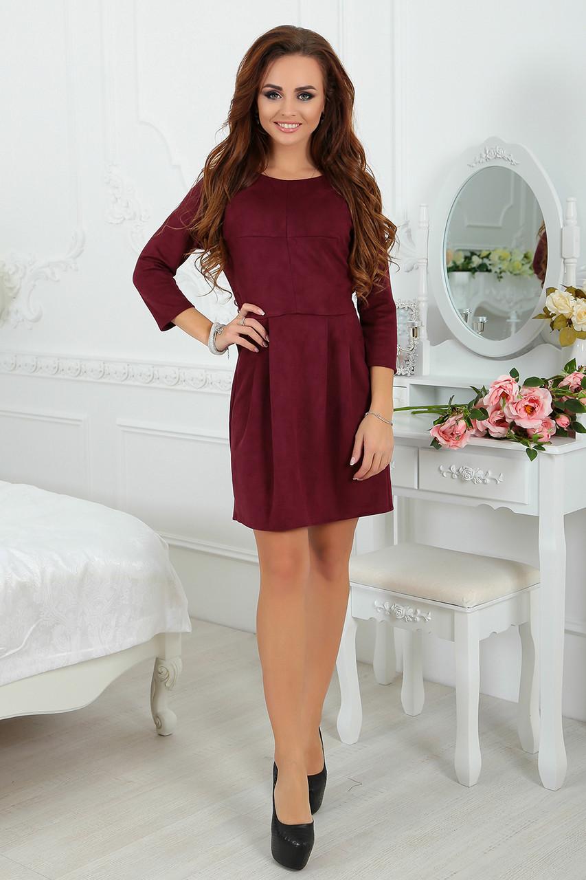 9c2f032fb3d Платье из замши Инга в цвете марсала - LILIT ODESSA оптово-розничный  магазин женской одежды