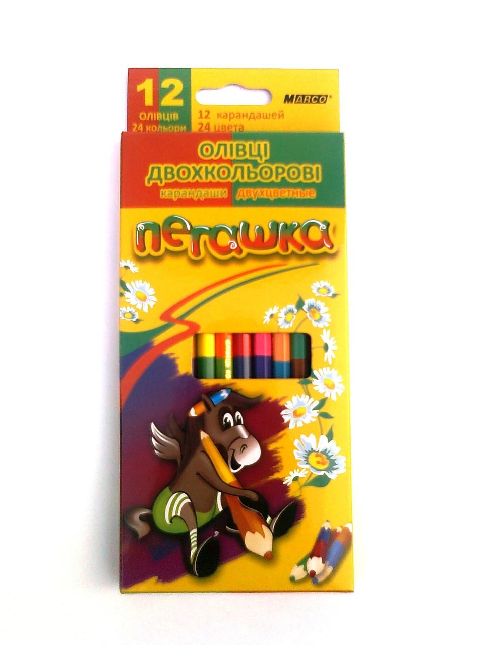 Набор цветных карандашей Пегашка 12 шт./ 24 цв.