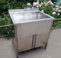 Ванна моечна промышленная из нержавеющей стали закрытая с дверцами