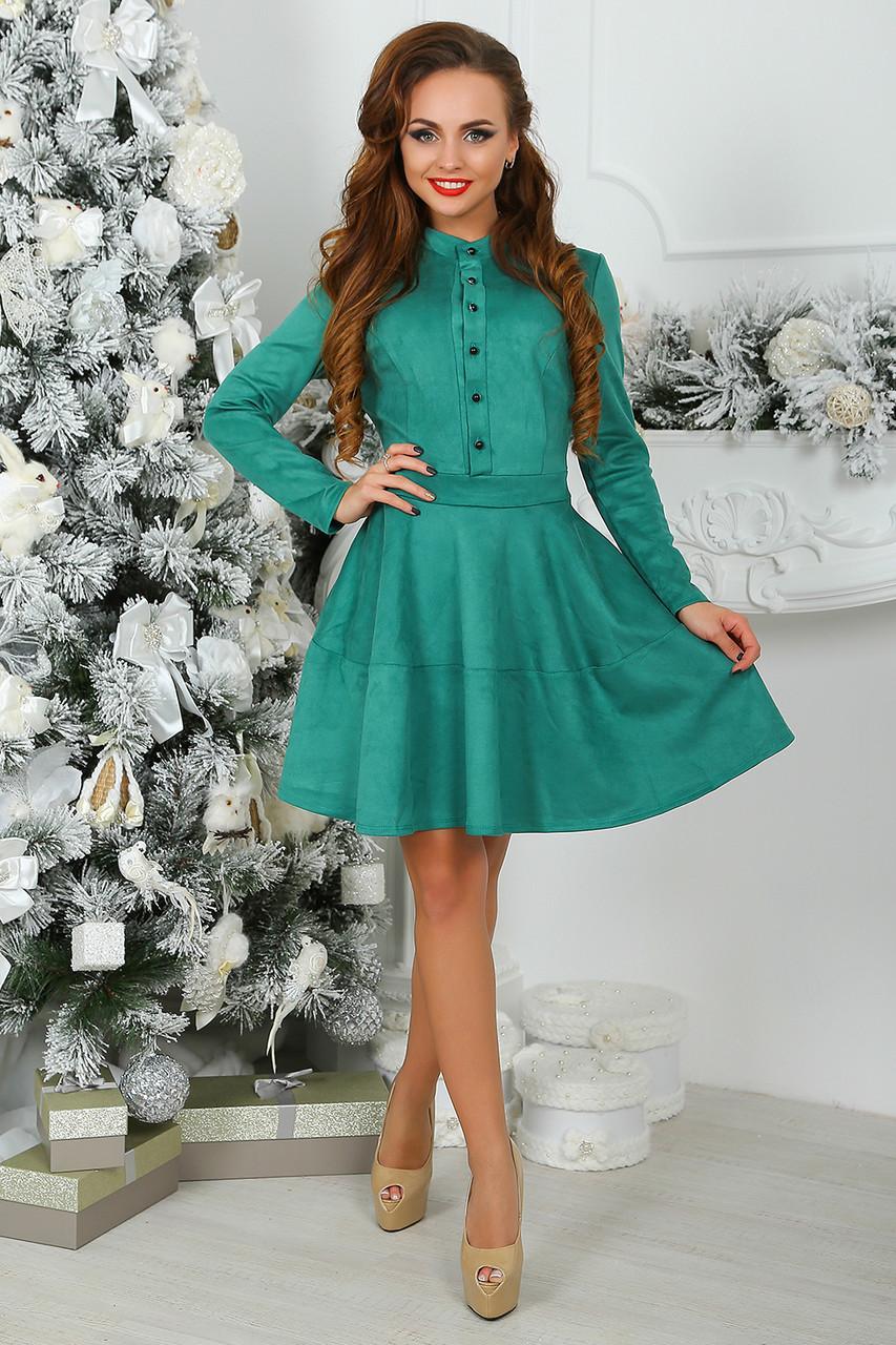 Платье замшевое Трин в зеленом цвете