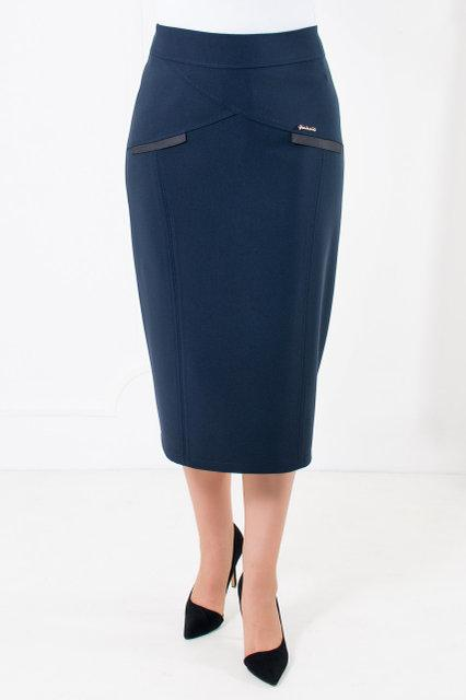 Женская юбка в деловом стиле из плотного трикотажа синего цвета  52-64