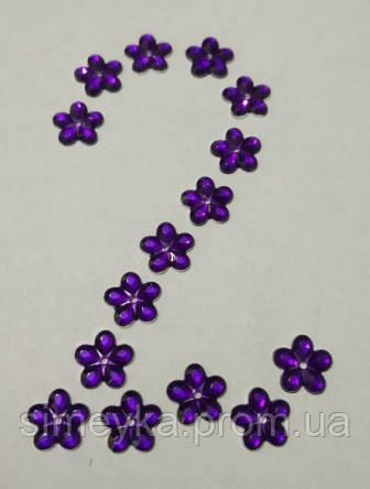 Цветок фиолетовый №2 прозрачный с серебристым дном 12 мм, уп. 20 шт.