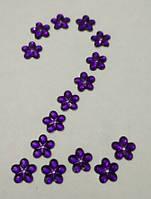 Цветок фиолетовый №2 прозрачный с серебристым дном 12 мм, уп. 20 шт., фото 1