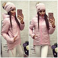 Куртка-парка женская, модель  210, пудра розовая