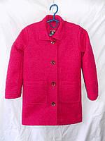 Пальто детское на девочку зима шерстяное 122-146см красное