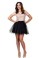 """Нарядное приталенное мини-платье """"Valery"""" с люрексом и фатиновой юбкой (3 цвета)"""