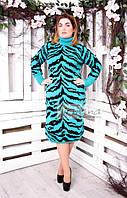Женское вязаное бирюзовое платье большого размера ТИГРИЦА ТМ Irmana 48-58 размеры