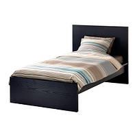 Каркас кровати высокий черно-коричневый 90x200см IKEA MALM Leirsund 490.200.30