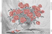 """Схема для частичной вышивки бисером """"Натюрморт """" Розы в вазе""""(част. выш.)"""""""