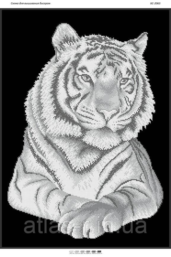 """Схема для частичной вышивки бисером """"Тигр(част. выш.)"""""""