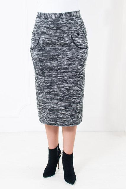 Женская классическая юбка средней посадки из стрейчевой пальтовой ткани  52-64