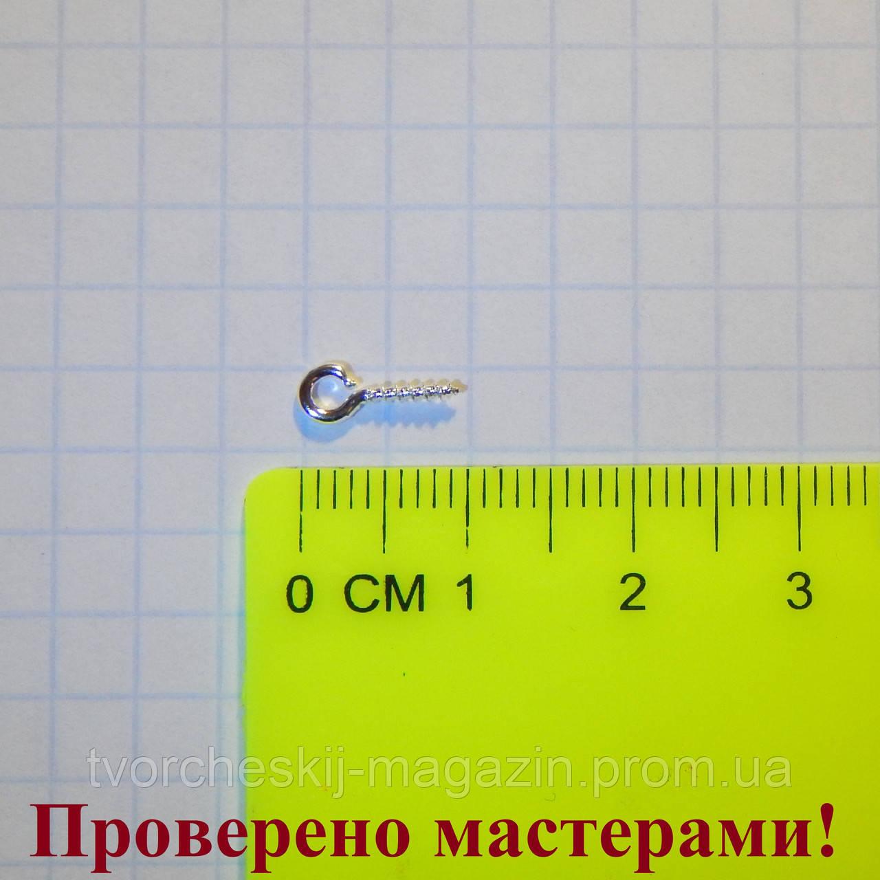 Крепление для подвески штифт посеребренное 0,9 см, 1 шт