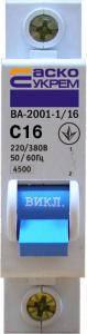 Автоматический выключатель ВА 2001 1р 16А С, фото 2