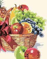 """Картины раскраски по номерам """"Корзинка фруктов"""" набор для творчества"""