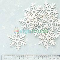 Вырубки из фетра СНЕЖИНКИ белые, 5.2 см, 50 шт