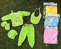 Комплект для новорожденного махровый (5 предметов) 62р, салатовый, фото 1