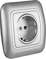 Розеткa электрическaя силовaя OZGUNSAN OZGUNSAN РАДУГА срібло Розетка 1 з/з пластик внутр. (10/120)