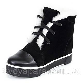 Женские зимние замшевые ботинки черного цвета  с шнурками и молнией с подкладкой из шерсти на подошве ТЭП