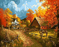 """Картины по номерам """"Сельский пейзаж"""" 40х50см, С Коробкой"""