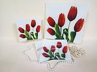 Набор стеклянных тарелок Тюльпан на белом 7 предметов