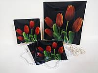 Набор стеклянных тарелок Тюльпан на черном 7 предметов