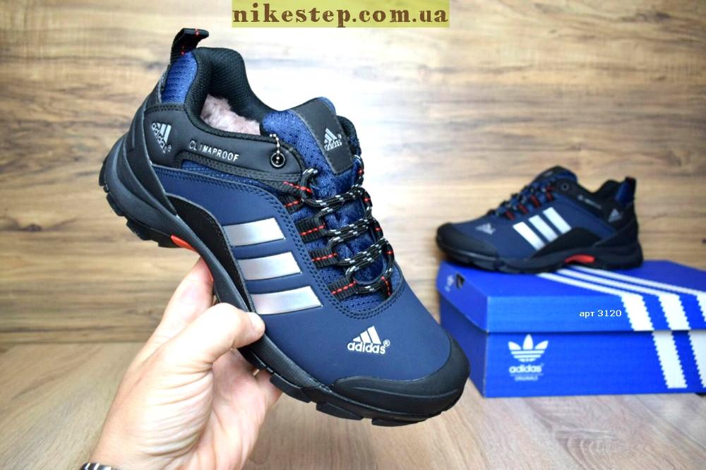 1285f05939c4 Мужские зимние кроссовки Adidas Climaproof низкие синие с черным на меху  реплика (живые фото)