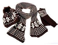 Шапка женская с шарфом и рукавичками РМ7971
