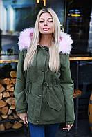 """Теплая женская куртка-парка """"Luki"""" с искусственным мехом (7 цветов)"""