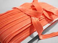 Косая бейка трикотажная (стрейчевая) ярко-оранжевая, 1,5см., 45м.