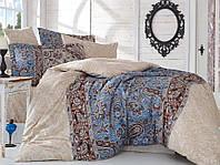 Комплект постельного белья сатин тм Hobby евро размер Caterina бежевый