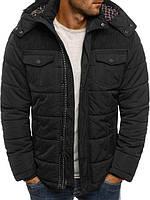 Куртка мужская теплая с капюшоном черного цвета, фото 1