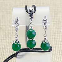 Нефрит, срібло, комплект кулон і сережки, 039КМН