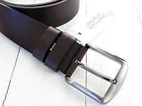Кожаный ремень коричневого цвета для деловых мужчин. Отличное качество. Классический дизайн. Код: КДН2554