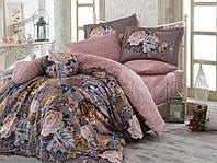 Комплект постельного белья сатин тм Hobby евро размер Rosanna серый