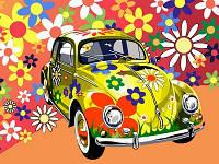 """Картины раскраски по номерам """"Назад в 60-е (желтая машина)"""" набор для творчества"""