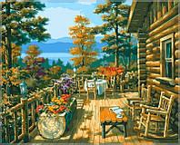 """Картины раскраски по номерам """"Терраса лесного домика"""" набор для творчества"""