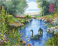 """Картины раскраски по номерам """"Черные лебеди"""" набор для творчества"""