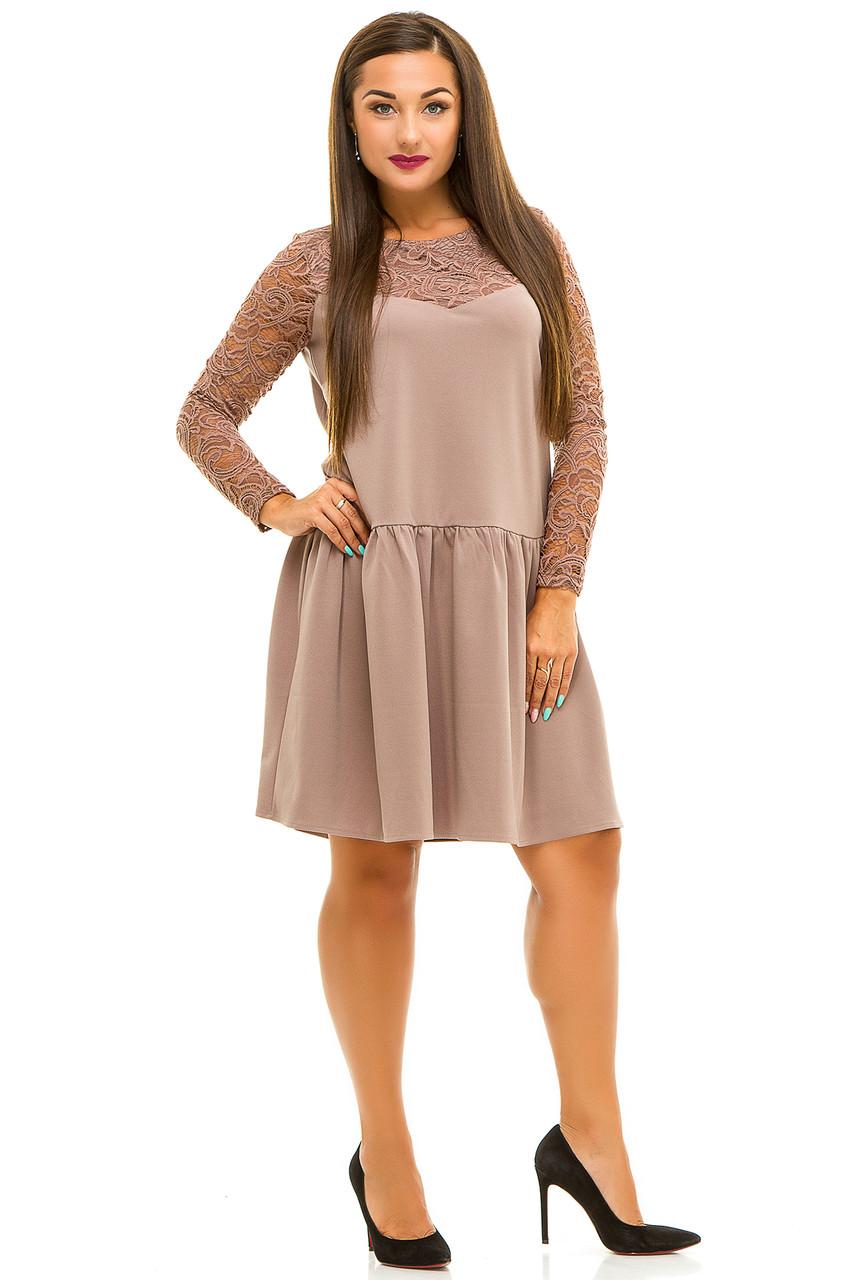 Ж5036 Платье со вставками гипюра 50,52,54,56