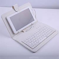 """Чехол с клавиатурой для планшетов 10"""" дюймов (микро USB) Белый"""