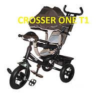 Велосипед детский трехколесный Azimut Trike Crosser One T1 ФАРА (надувные колёса) коричневый