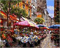 """Картины раскраски по номерам """"Цветочный рынок"""" набор для творчества"""