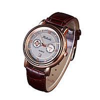 Мужские наручные часы Faleidu Коричневые с золотым циферблатом