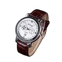 Мужские наручные часы Faleidu Коричневые с серебряным циферблатом