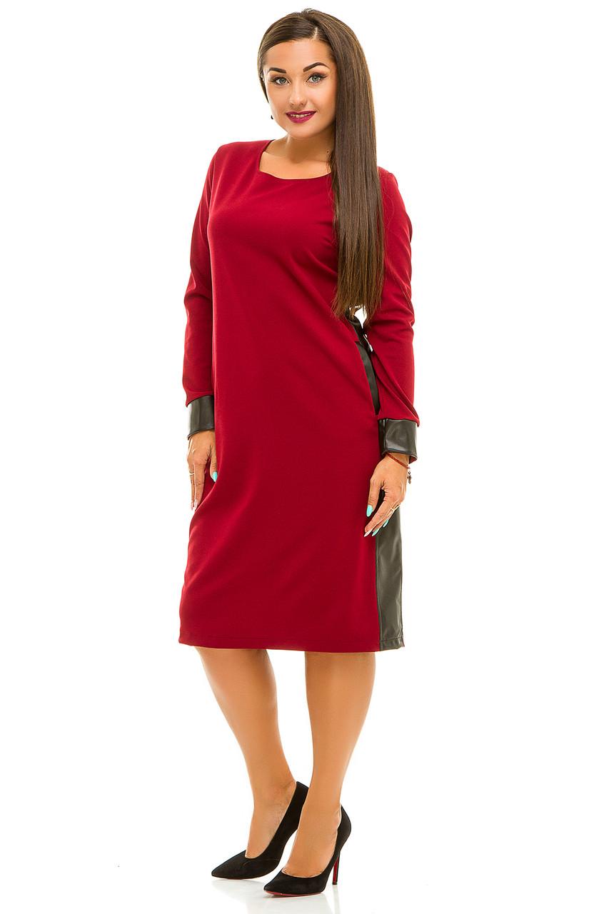 Ж5035 Платье со вставками эко-кожи 50,52,54,56