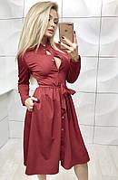 Женское платья в 3 цветах с юбкой солнце бордо,красный,черный