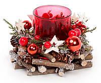 Новогодний подсвечник со стеклянной колбой и декором 16см, цвет - красный