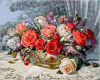 """Картины раскраски по номерам """"Розы на веранде"""" набор для творчества"""